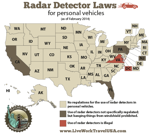 Radar detector laws in the U.S.