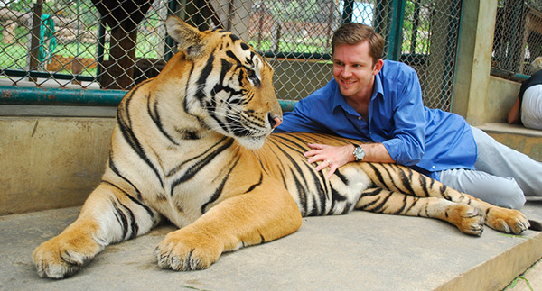 Chris Guillebeau with tiger