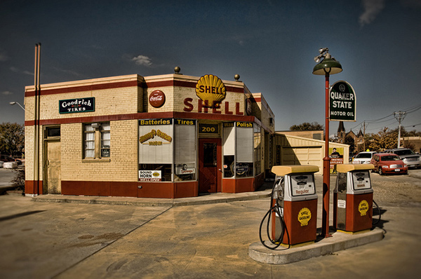 Vintage Shell gas station